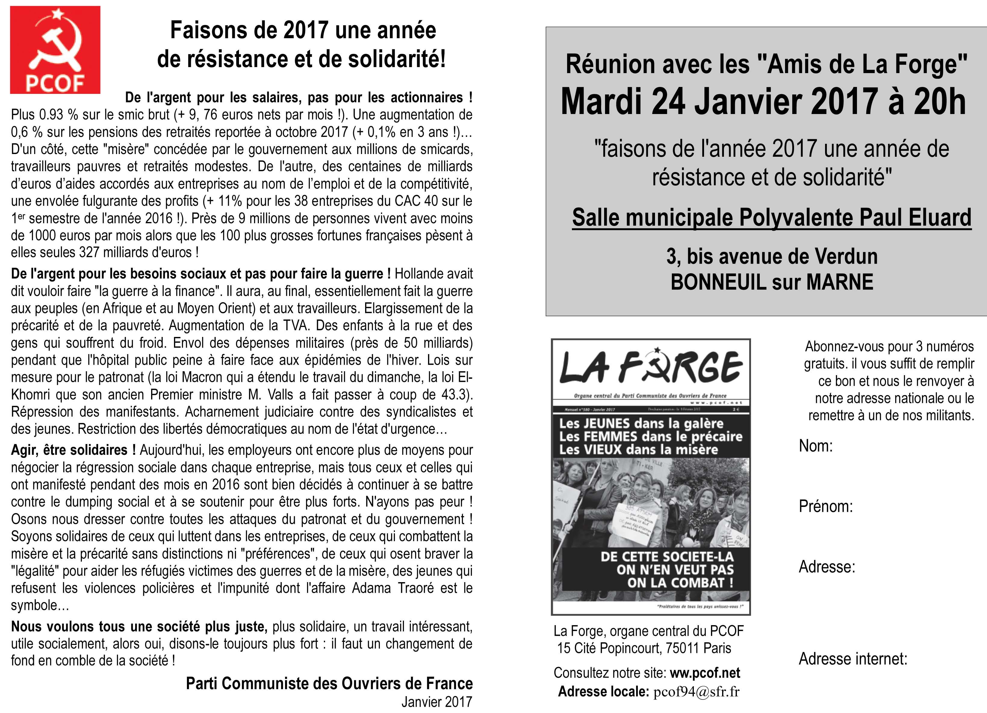 Bonneuil : les amis de La Forge vous donnent rendez-vous à 20h, salle municipale Paul Eluard, 3 bis avenue de Verdun