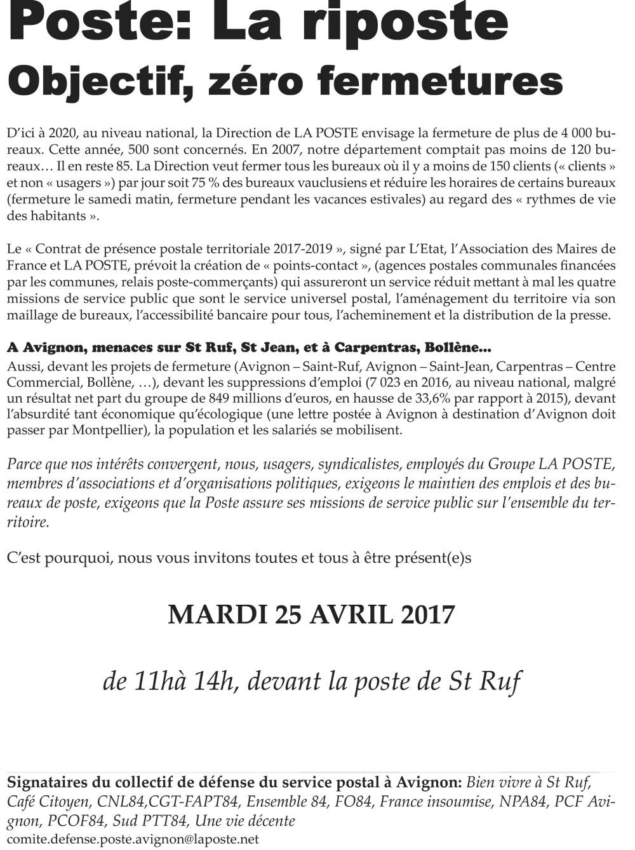 Avignon, 25 avril, mobilisation pour défendre les bureaux de poste