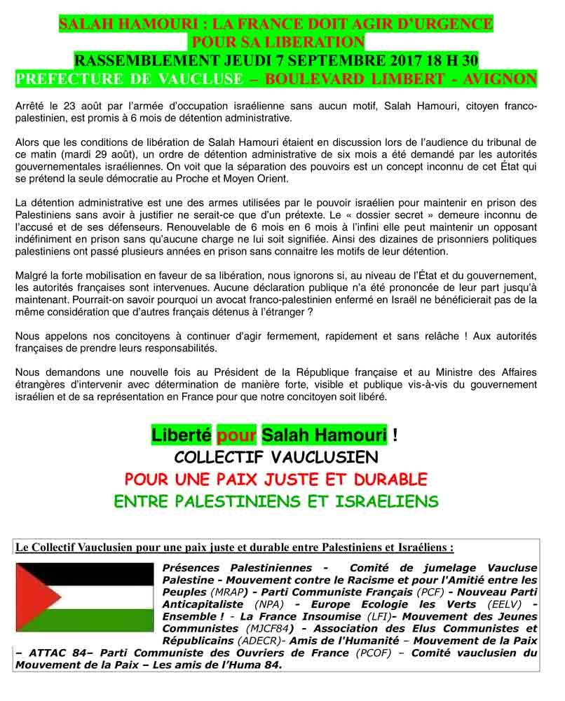 Avignon : rassemblement pour la libération de Salah Hamouri