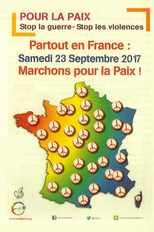 Le 23 septembre : marches pour la paix