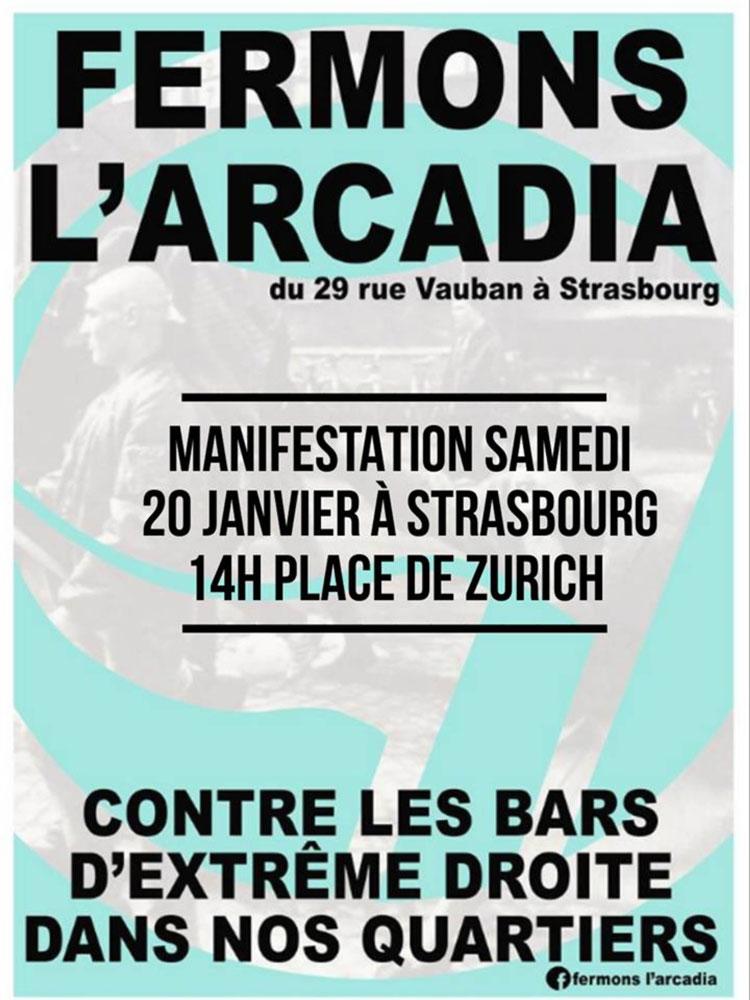 Strasbourg : rassemblement pour fermer un bar d'extrême droite, le 20 janvier, place de Zurich, 14h