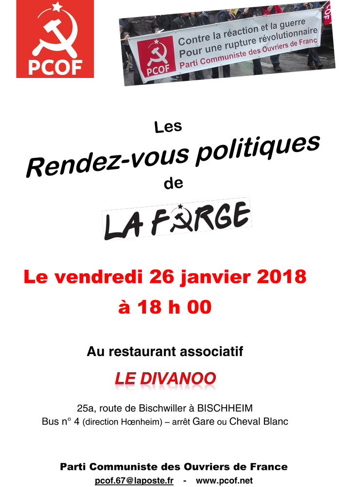 rendez vous de La Forge à Strasbourg, 26 janvier à 18h, au Diwanoo