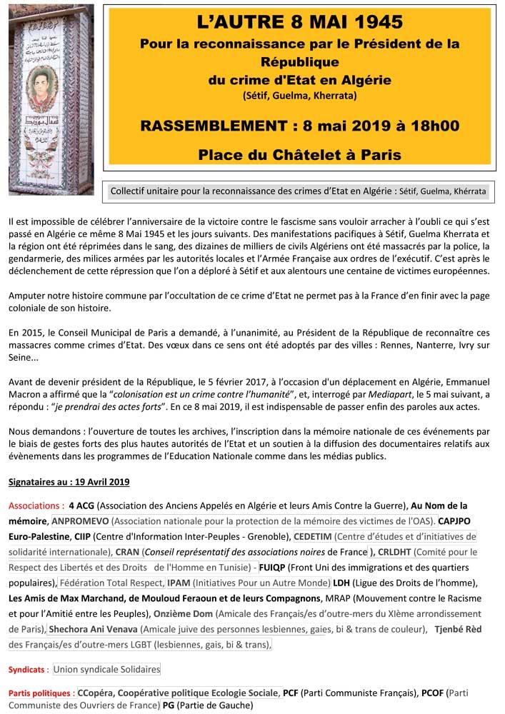 8 mai, rassemblement 18h place du châtelet  : pour le reconnaissance du crime d'Etat en Algérie  (Sétif, Guelma, Kheraatat