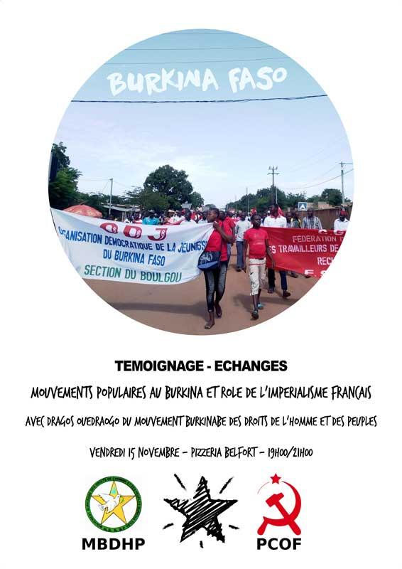 Toulouse, 15 novembre, 19h pizzeria Belfort, rendez-vous de La Forge autour du mouvement populaire au Burkina Faso
